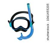 blue diving mask  diving tube ... | Shutterstock . vector #1061455205