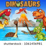 different types of dinosaurs in ... | Shutterstock .eps vector #1061456981