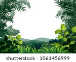 background frame with hills and ... | Shutterstock .eps vector #1061456999