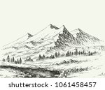 mountains landscape sketch.... | Shutterstock .eps vector #1061458457