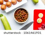 dogfood  eggs  meat  carrot and ...   Shutterstock . vector #1061461931