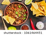 mexican food dish chili con... | Shutterstock . vector #1061464451