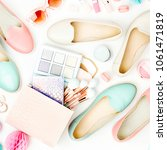 flat lay of female fashion... | Shutterstock . vector #1061471819
