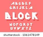 80's retro alphabet font. 3d... | Shutterstock .eps vector #1061478149