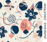 pink flowers girlie pattern. | Shutterstock .eps vector #1061479034