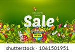 welcome spring sale banner... | Shutterstock .eps vector #1061501951