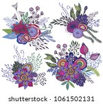set of four beautiful fantasy... | Shutterstock .eps vector #1061502131