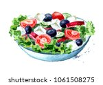 greek salad with fresh... | Shutterstock . vector #1061508275
