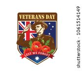 anzac day. soldier salute. lest ... | Shutterstock .eps vector #1061514149