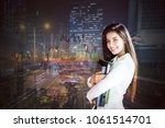 young businesswoman with... | Shutterstock . vector #1061514701