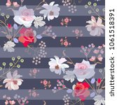 seamless floral striped pattern ... | Shutterstock .eps vector #1061518391