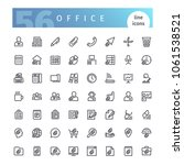 set of 56 office line icons... | Shutterstock .eps vector #1061538521