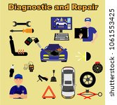 auto maintenance services icons ... | Shutterstock .eps vector #1061553425