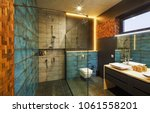 bathroom interior with a... | Shutterstock . vector #1061558201