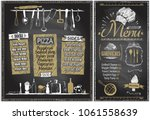 chalk menu boards with... | Shutterstock .eps vector #1061558639