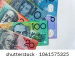 australian dollar banknotes on... | Shutterstock . vector #1061575325