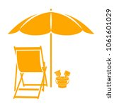 vector deck chair and sand... | Shutterstock .eps vector #1061601029