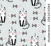 cute seamless pattern   doodle... | Shutterstock .eps vector #1061614364