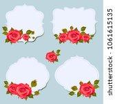 vintage red roses  postal   Shutterstock .eps vector #1061615135