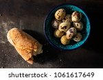 piece of baguette and quail... | Shutterstock . vector #1061617649