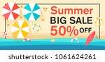 summer sale with sun umbrellas... | Shutterstock .eps vector #1061624261
