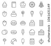 thin line icon set   cupcake... | Shutterstock .eps vector #1061631149