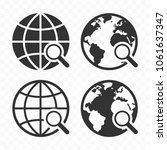 globe with magnifying glass... | Shutterstock .eps vector #1061637347
