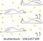 sleepy duck  pattern with duck...   Shutterstock .eps vector #1061657189