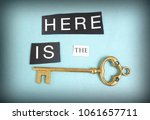 gold key with torn here is the... | Shutterstock . vector #1061657711