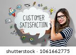 customer satisfaction text with ... | Shutterstock . vector #1061662775