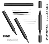 black marker set. double sided... | Shutterstock .eps vector #1061664311