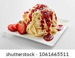 plate with spaghetti ice cream... | Shutterstock . vector #1061665511