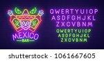mexico bar neon sign  bright... | Shutterstock .eps vector #1061667605