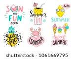 set of cute summer hand drawn... | Shutterstock .eps vector #1061669795