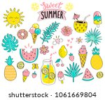 set of sweet summer hand drawn... | Shutterstock .eps vector #1061669804