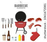 bbq grill and food grilled ... | Shutterstock .eps vector #1061672081
