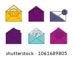 mail icon set. color outline...