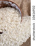 Bowl of Raw White Rice Close-up - stock photo