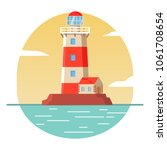 lighthouse tower lodge on the... | Shutterstock .eps vector #1061708654