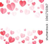 soft color folded paper hearts... | Shutterstock .eps vector #1061710367