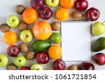 set of raw fruits with notebook ... | Shutterstock . vector #1061721854