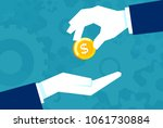businessman gives man a gold... | Shutterstock .eps vector #1061730884