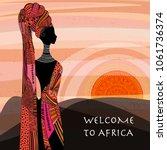 landscape view of africa with...   Shutterstock .eps vector #1061736374