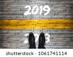 welcome 2019   goodbye 2018  ... | Shutterstock . vector #1061741114