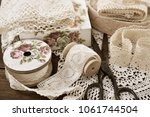 vintage cotton lace trims on... | Shutterstock . vector #1061744504