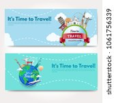 it s time to travel.trip to...   Shutterstock .eps vector #1061756339