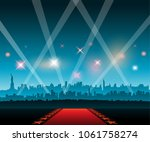 red carpet with new york city... | Shutterstock .eps vector #1061758274