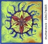 Mandala Green Flower ...