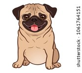 pug dog cartoon illustration.... | Shutterstock .eps vector #1061764151