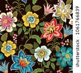 colorful floral seamless vector ... | Shutterstock .eps vector #1061766839